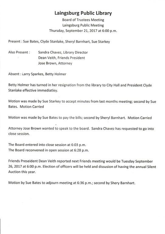 September 2017 Board Meeting Minutes